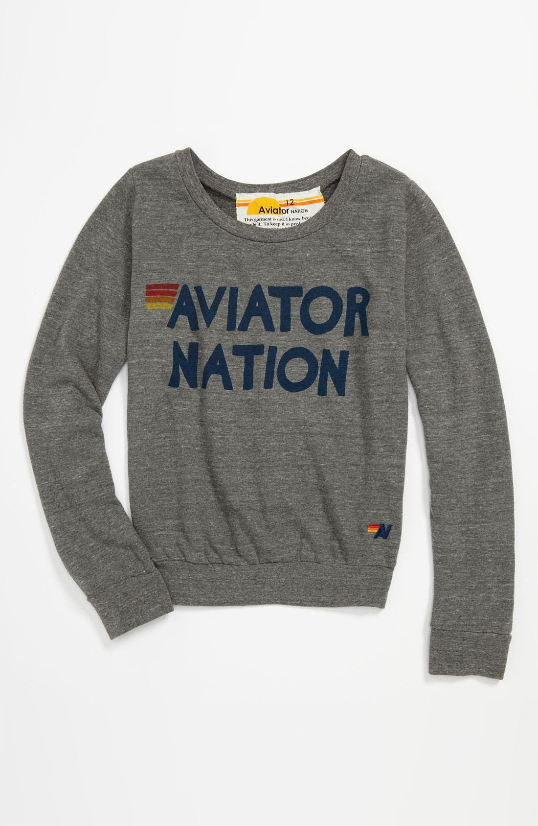 Alternate Image 1 Selected - Aviator Nation Sweatshirt (Little Girls & Big Girls)