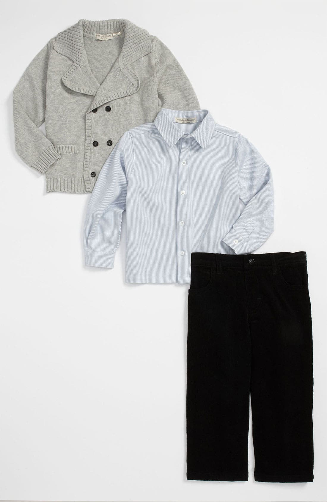 Main Image - Wendy Bellissimo Cardigan, Shirt & Pants Set (Infant)