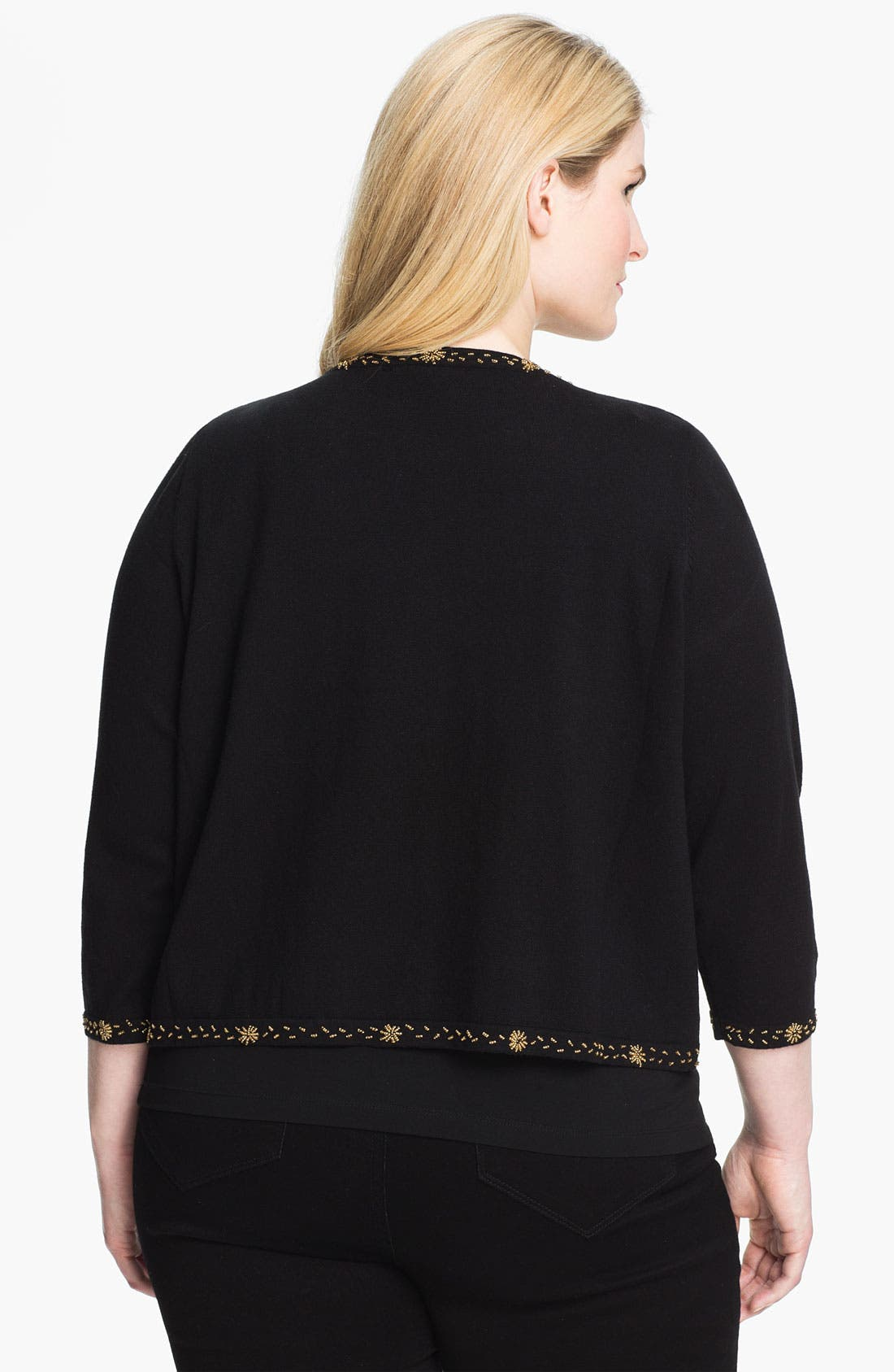 Alternate Image 2  - Evans 'Matador' Open Front Cardigan (Plus Size)