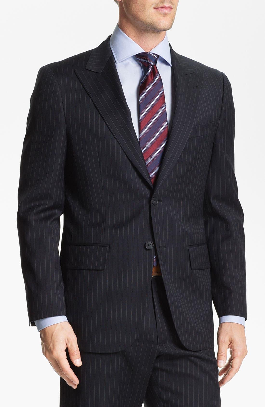 Main Image - Joseph Abboud Trim Fit Peak Lapel Stripe Suit