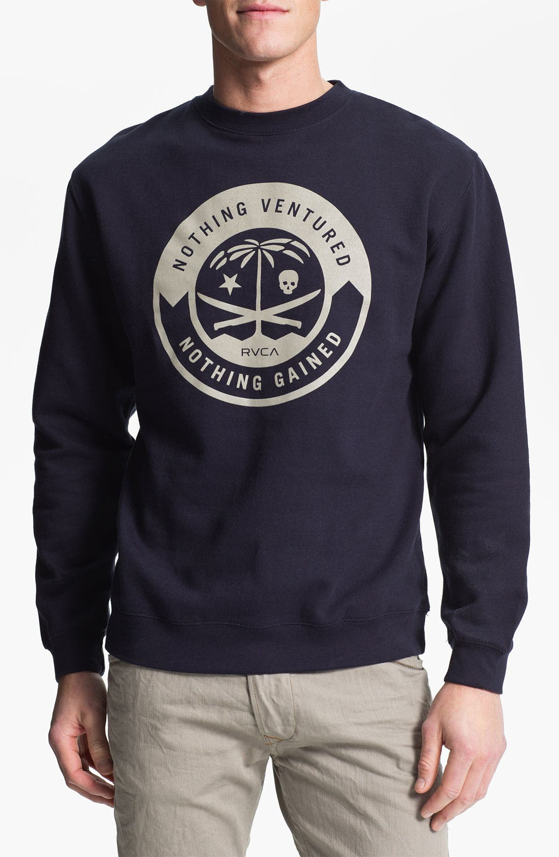 Alternate Image 1 Selected - RVCA 'Korps' Graphic Crewneck Sweatshirt