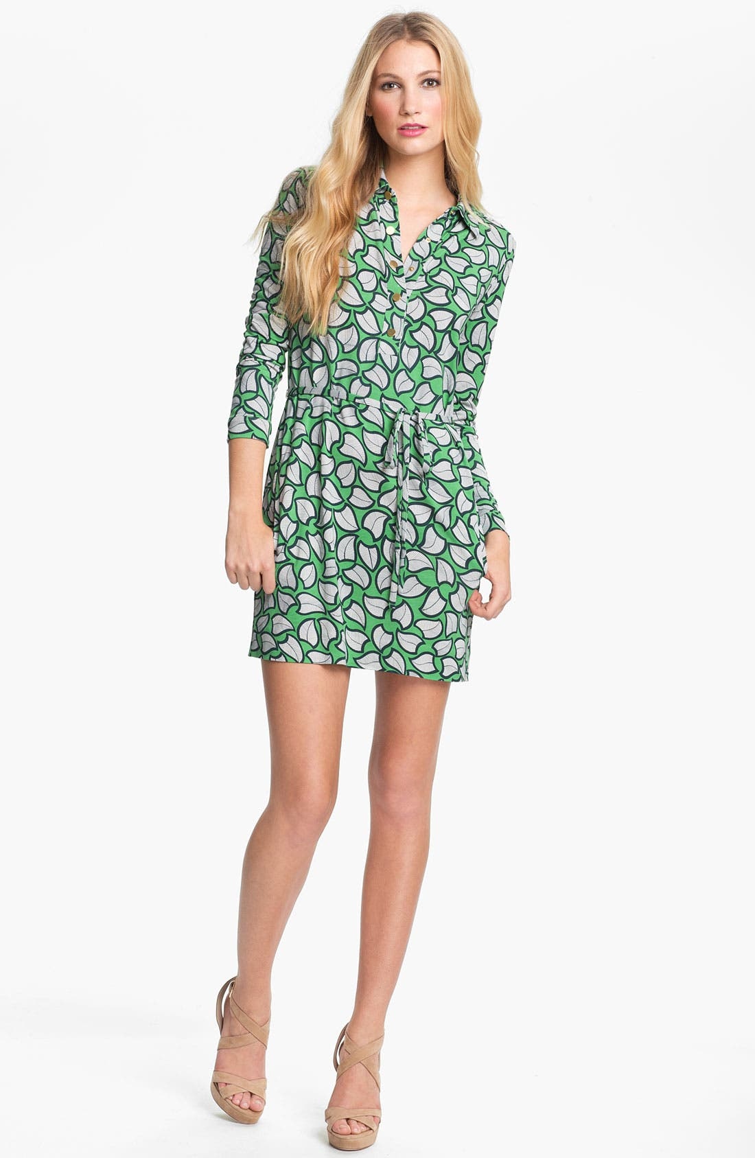 'Leanna' Silk Shirtdress,                         Main,                         color, Leaves Line Green