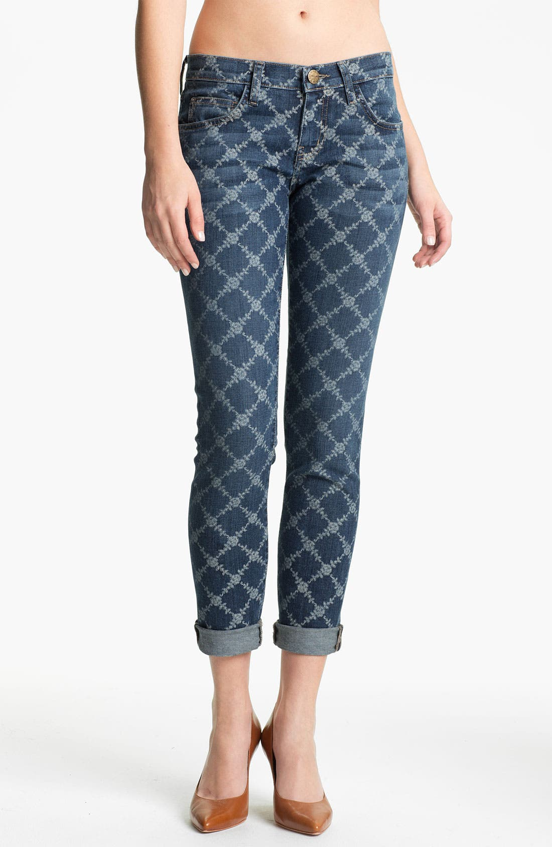 Main Image - Current/Elliott 'The Rolled' Print Stretch Jeans (Indigo Rose Lattice)