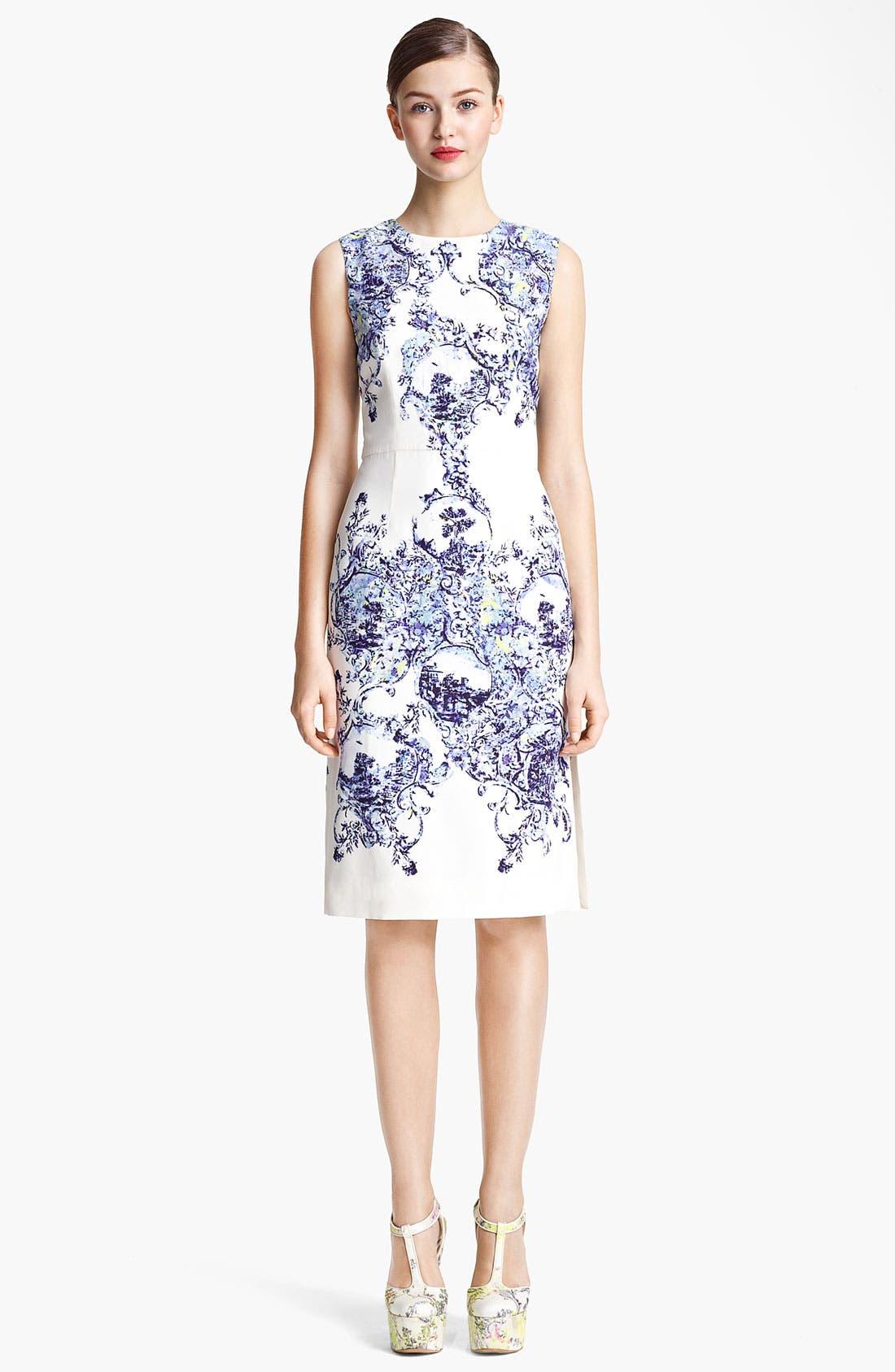 Alternate Image 1 Selected - Erdem Milandes Print Crepe Back Satin Sheath Dress
