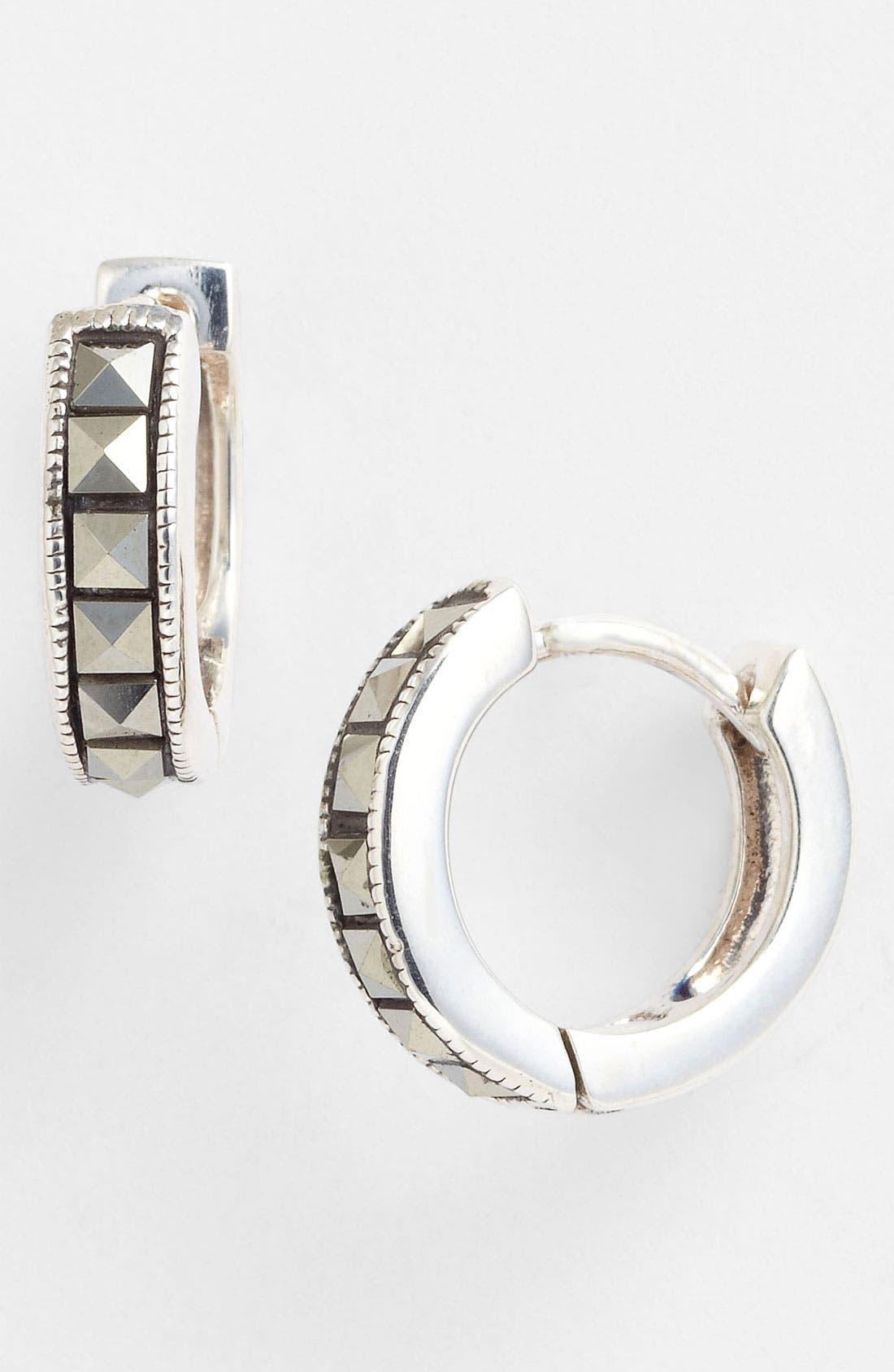 Hoop Earrings,                         Main,                         color, Silver/ Marcasite