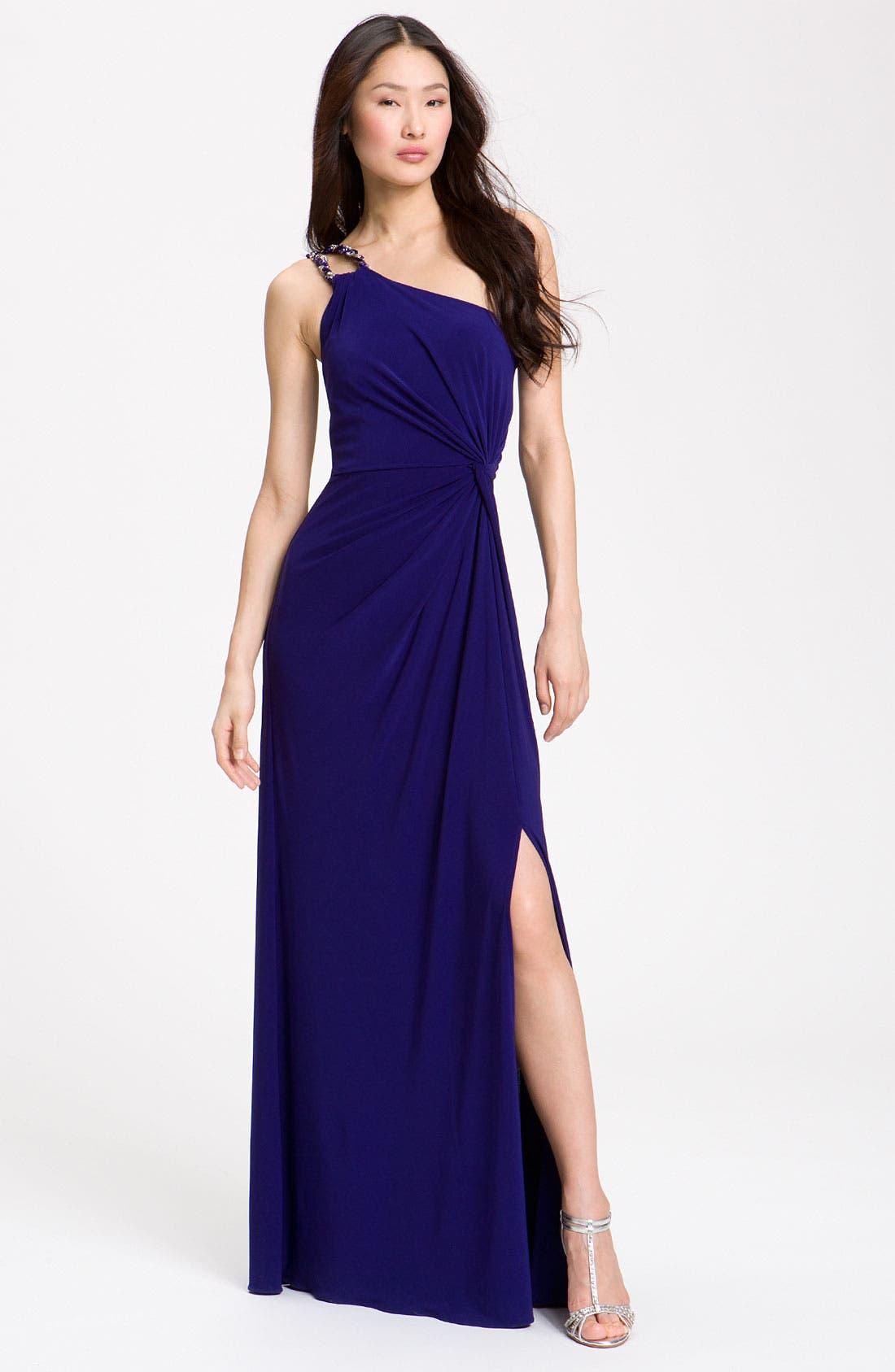 Alternate Image 1 Selected - JS Boutique Knotted One Shoulder Dress (Petite)