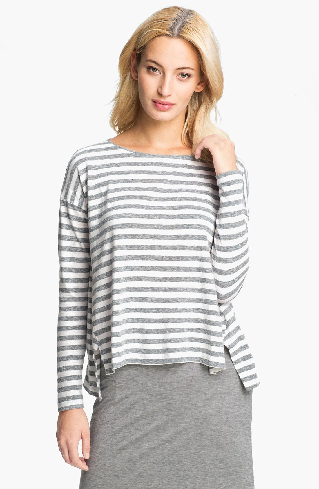Alternate Image 1 Selected - Eileen Fisher Mélange Slub Stripe Top