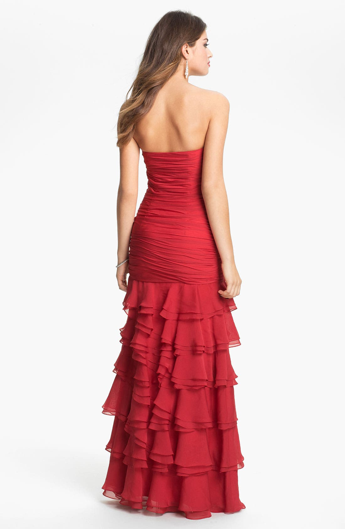 Alternate Image 2  - Dalia MacPhee Ruched & Tiered Strapless Chiffon Gown