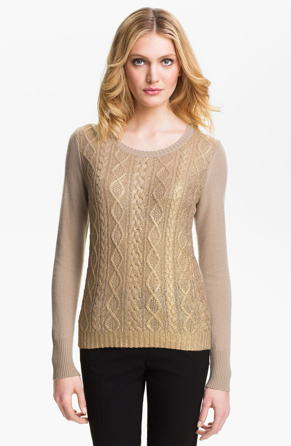 Alternate Image 1 Selected - Christopher Fischer 'Isabel' Foil Front Cashmere Sweater