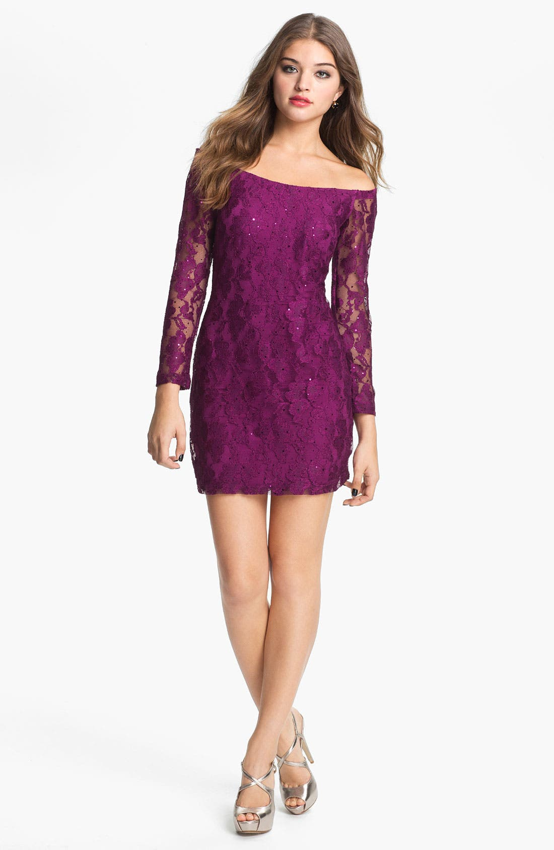 Main Image - Jessica McClintock Sheer Sleeve Sequin Lace Minidress