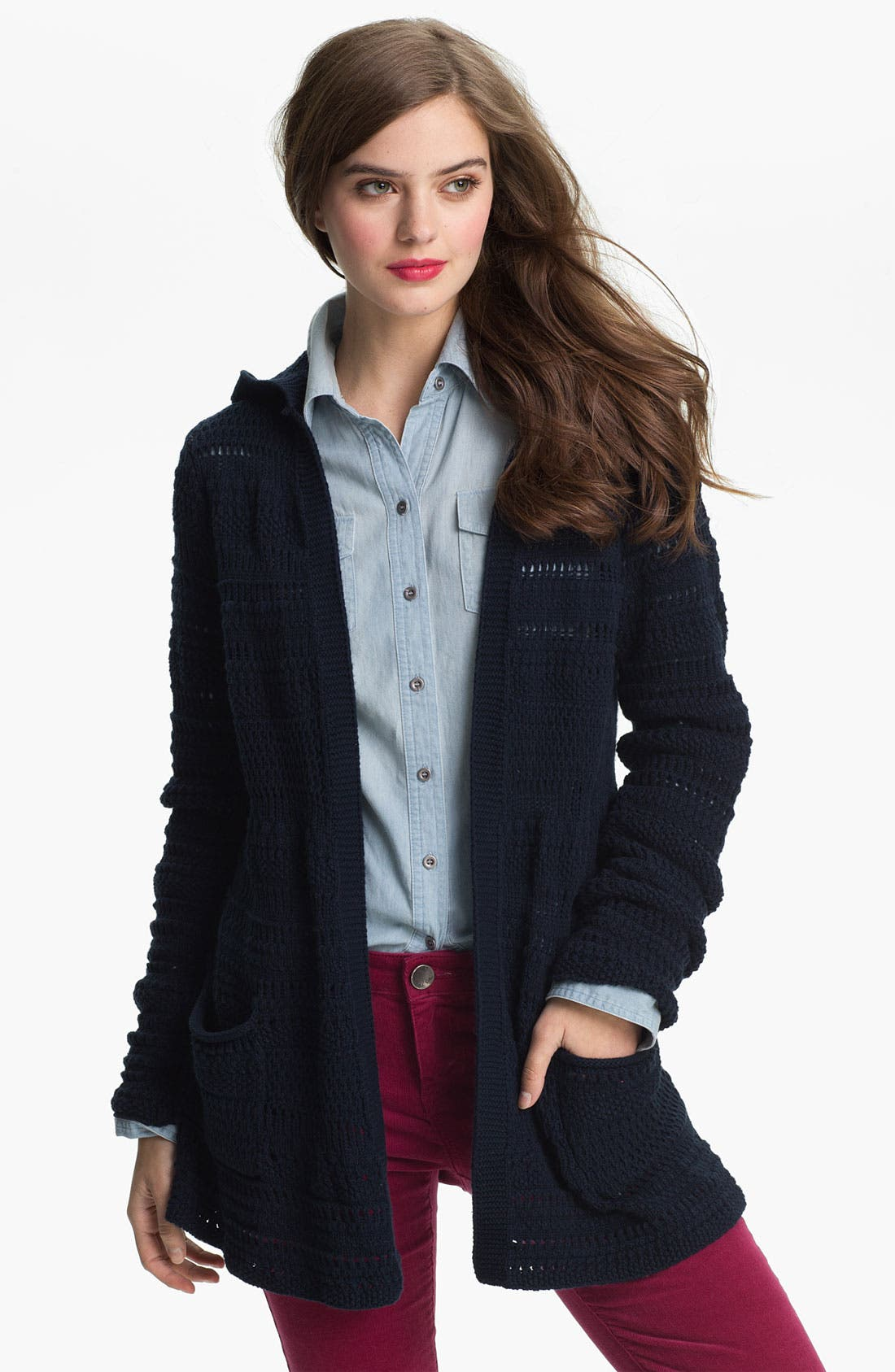 Alternate Image 1 Selected - Lucky Brand Hooded Sweater Jacket (Online Exclusive)