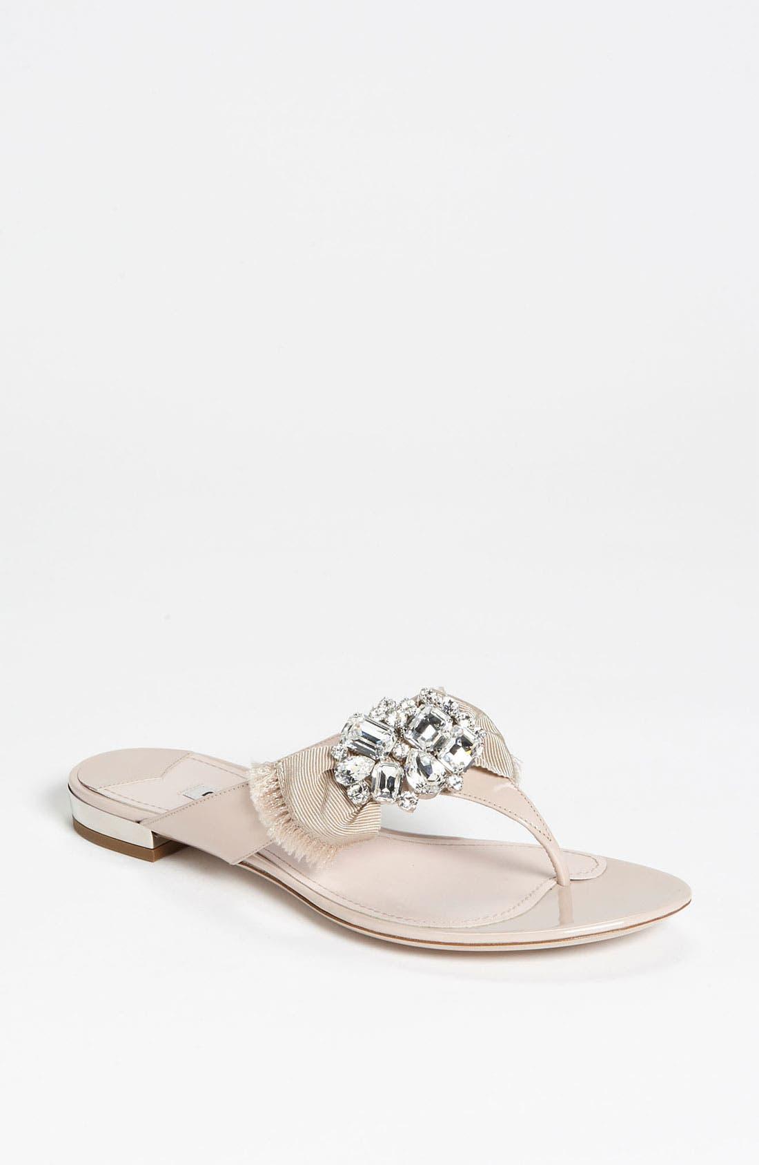 Main Image - Miu Miu Crystal Bow Thong Sandal