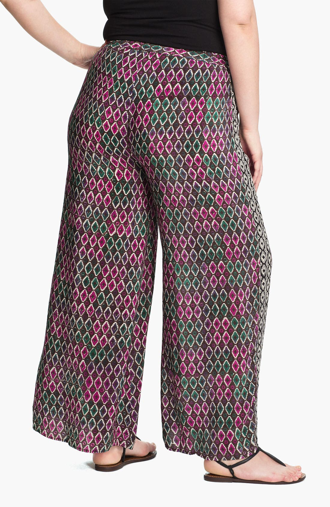 Alternate Image 2  - Tolani Silk Palazzo Pants (Plus Size) (Online Only)