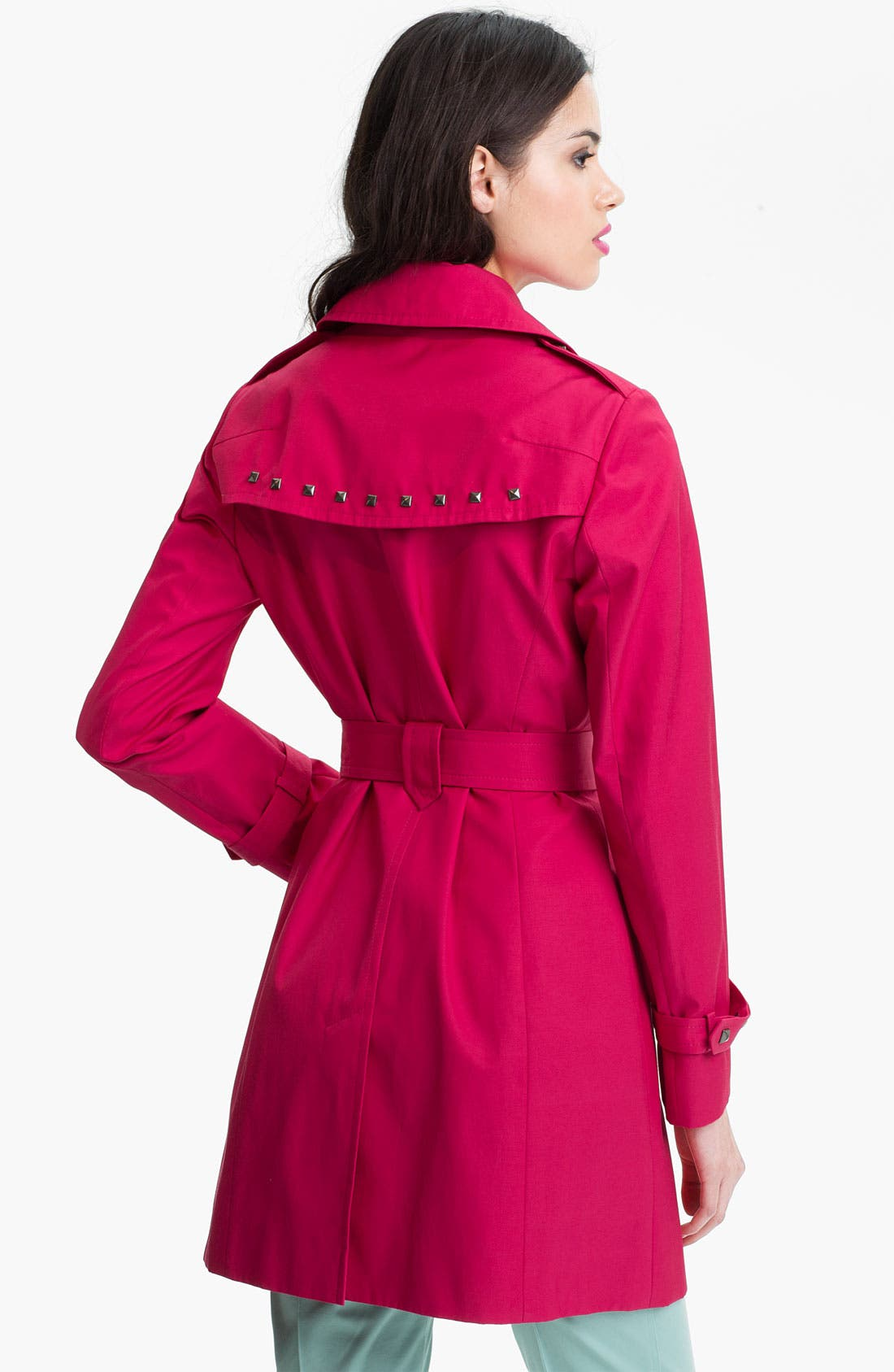 Alternate Image 2  - Via Spiga Studded Double Breasted Trench Coat (Online Only)