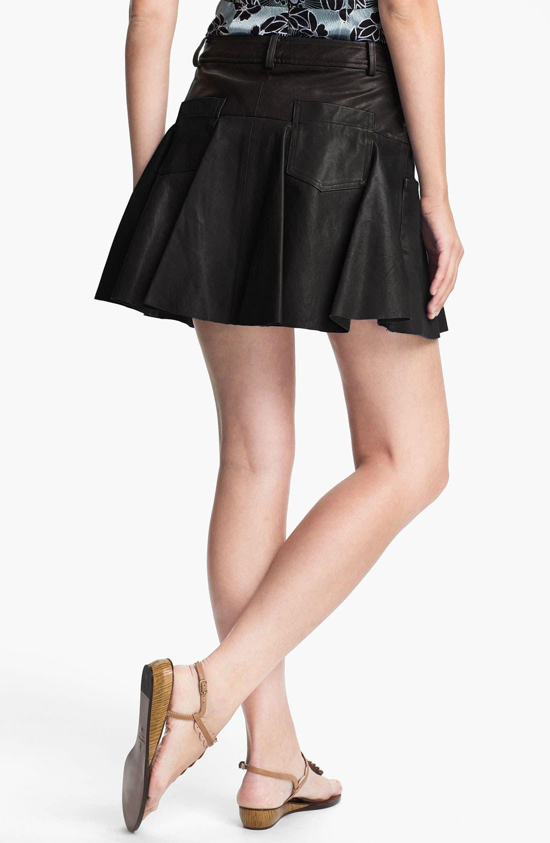 Alternate Image 2  - Thakoon Addition Pleated Leather Miniskirt