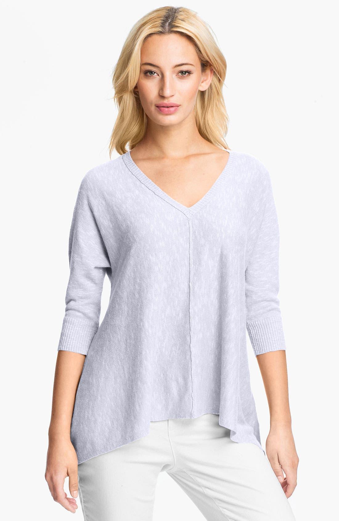 Alternate Image 1 Selected - Eileen Fisher Linen & Cotton V-Neck Top