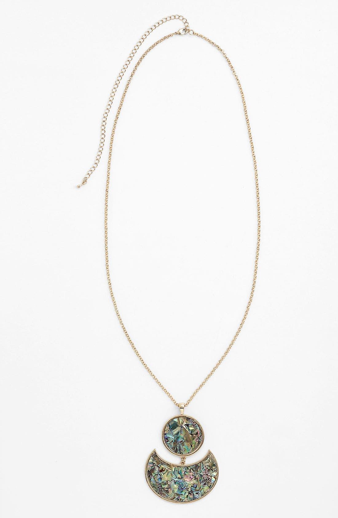 Main Image - Panacea 'Abalone Circle Crescent' Pendant Necklace