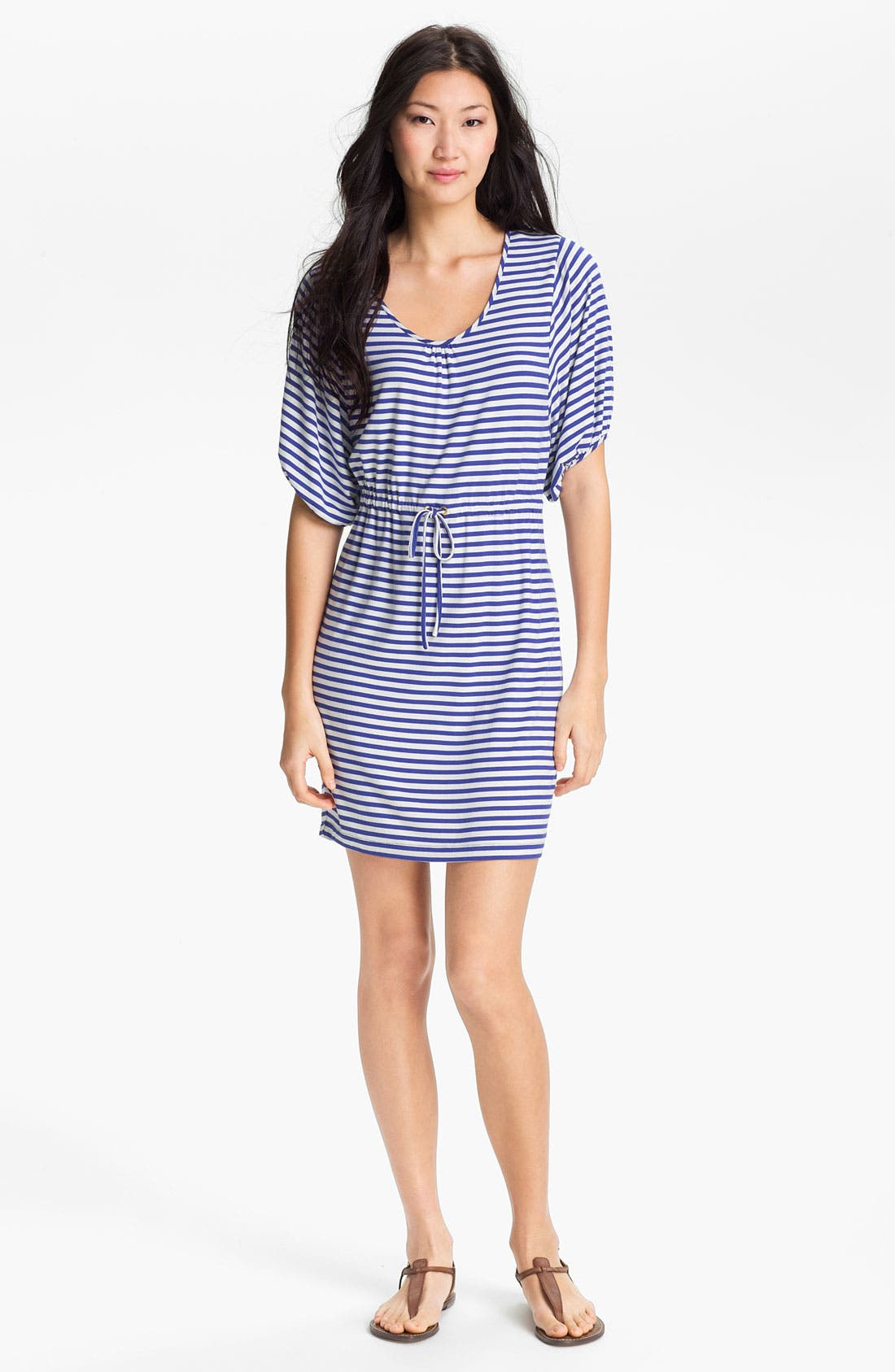 Main Image - Calvin Klein Blouson Sleeve Stripe Jersey Dress