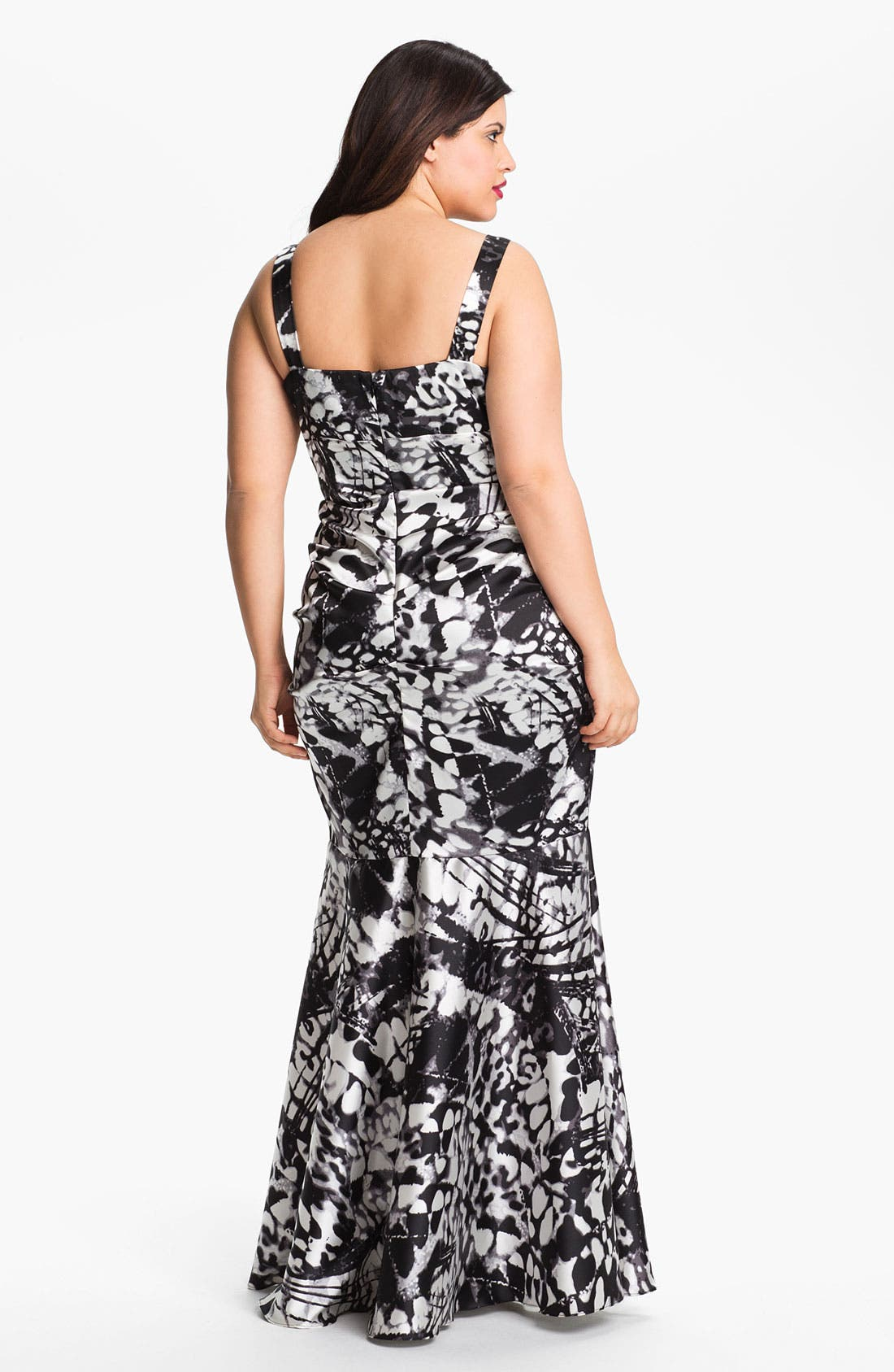 Alternate Image 2  - Xscape Ruched Print Gown (Plus Size)