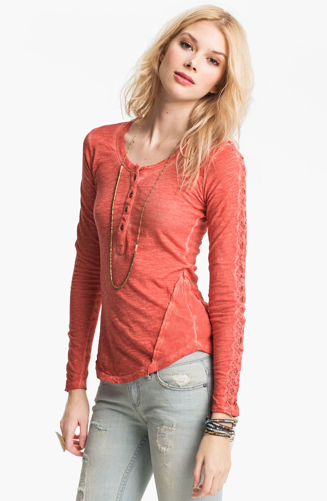 Alternate Image 1 Selected - Free People Lace Trim Henley