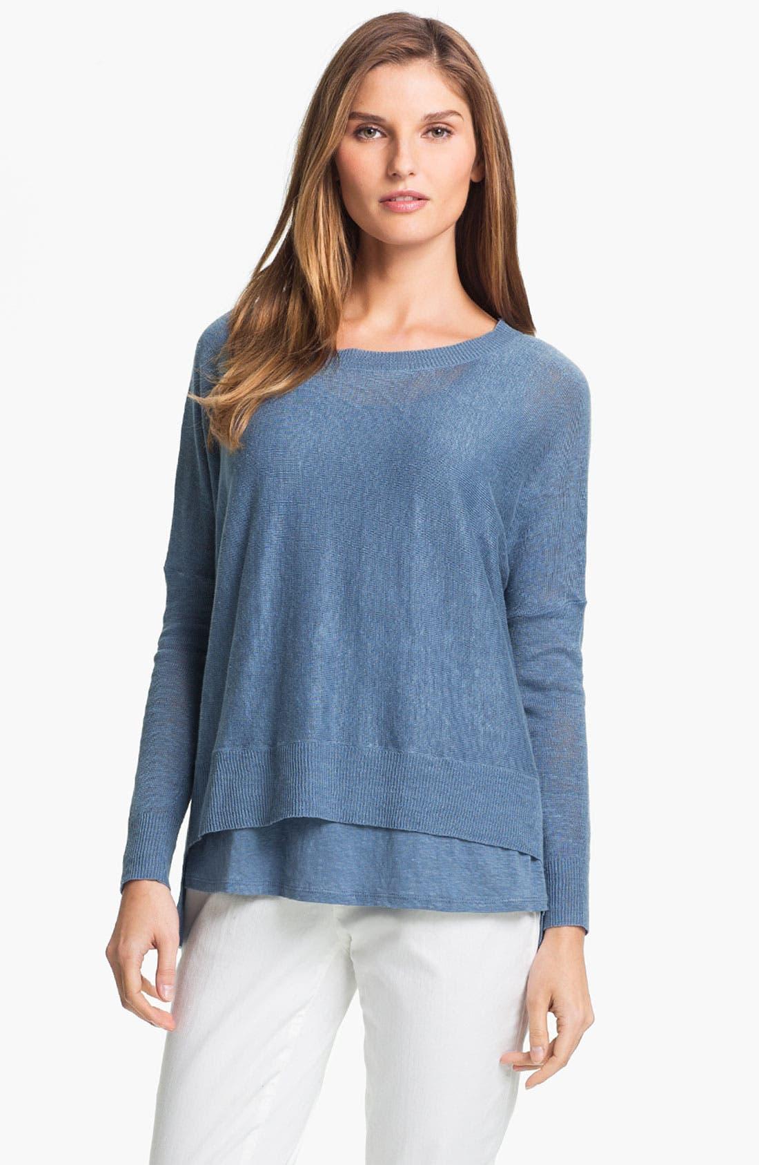 Alternate Image 1 Selected - Eileen Fisher Lightweight Linen Tunic