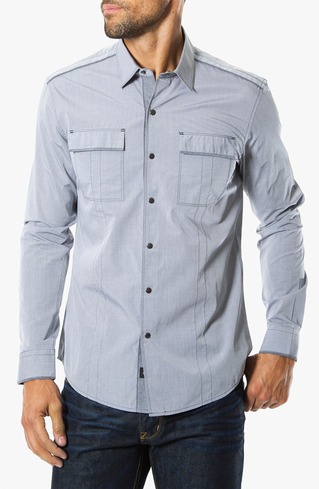 'Shades of Grey' Woven Sport Shirt,                             Main thumbnail 1, color,                             Grey