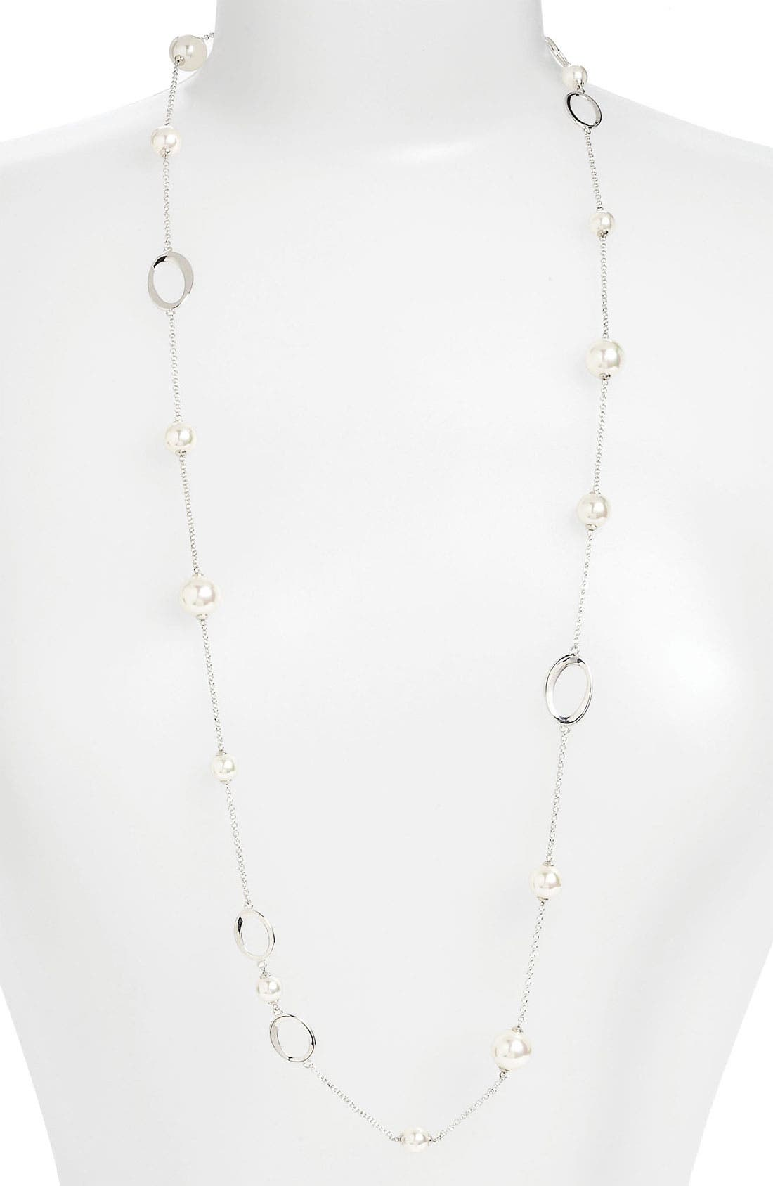 Main Image - Majorica Long Pearl Station Necklace