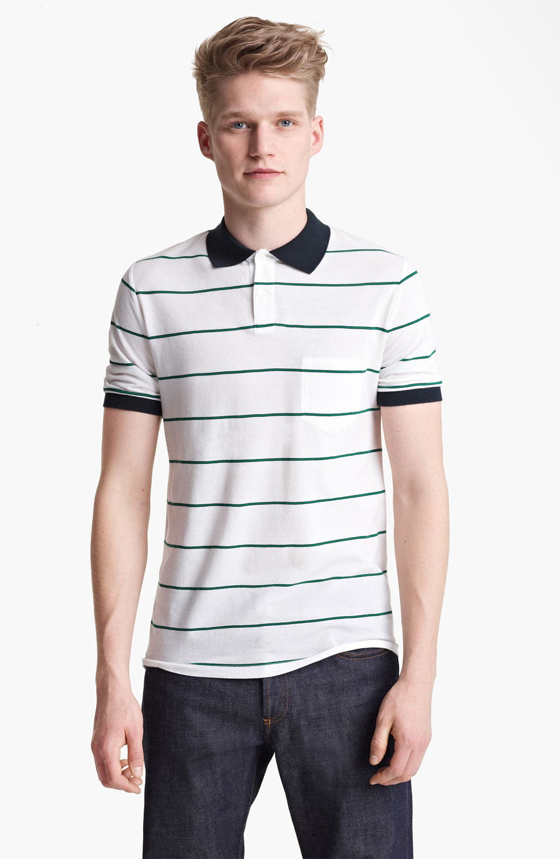 Main Image - Band of Outsiders Stripe Piqué Polo