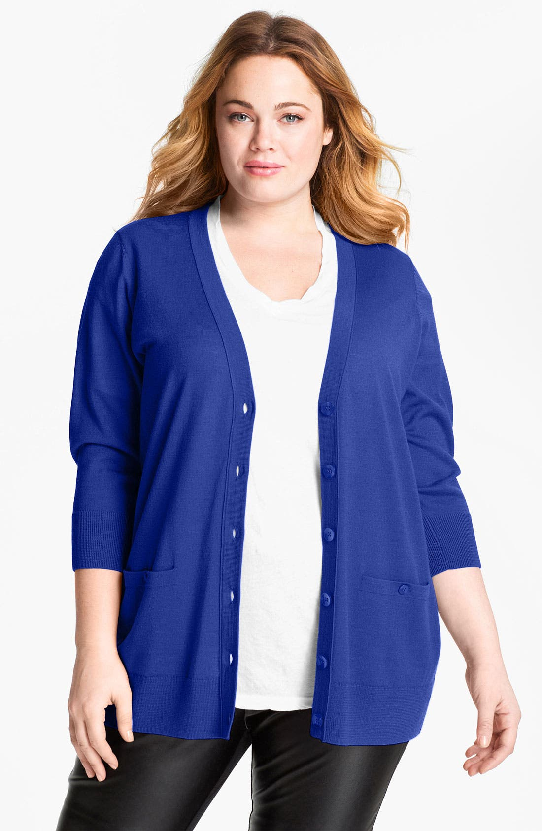 Alternate Image 1 Selected - Sejour 'Girlfriend' Three Quarter Sleeve Cardigan (Plus Size)