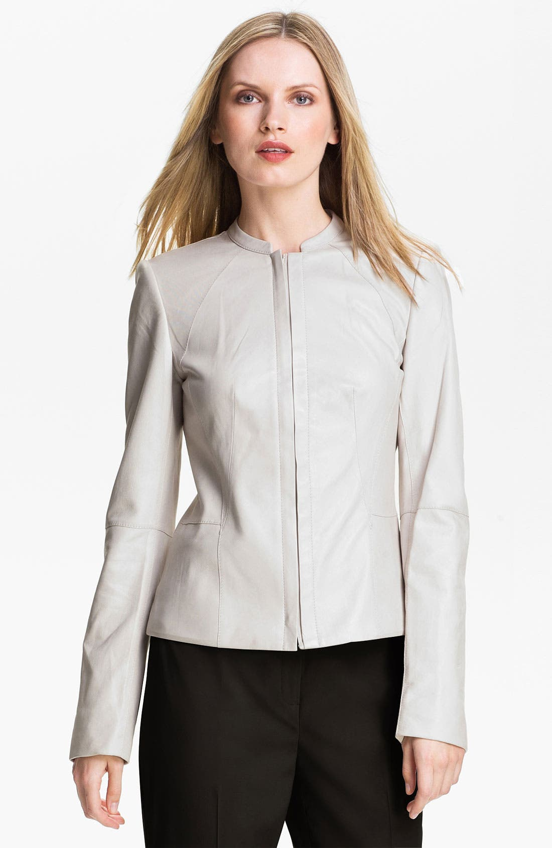 Main Image - Lafayette 148 New York Lambskin Leather Moto Jacket