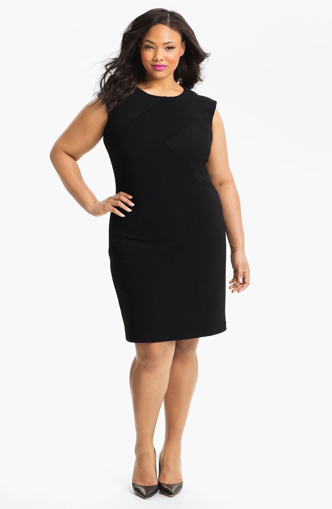 Alternate Image 1 Selected - Calvin Klein Textured Jersey Sheath Dress (Plus)