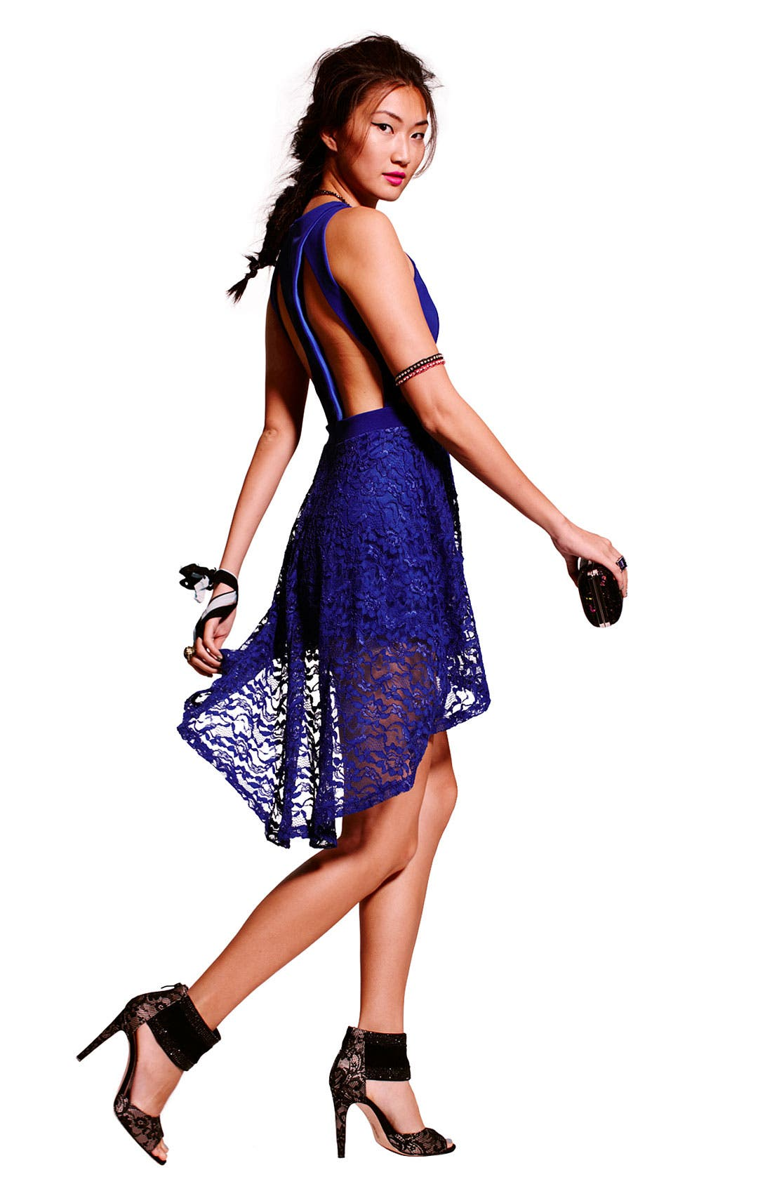 Alternate Image 4  - Lush High/Low Lace Cutout Dress (Juniors)