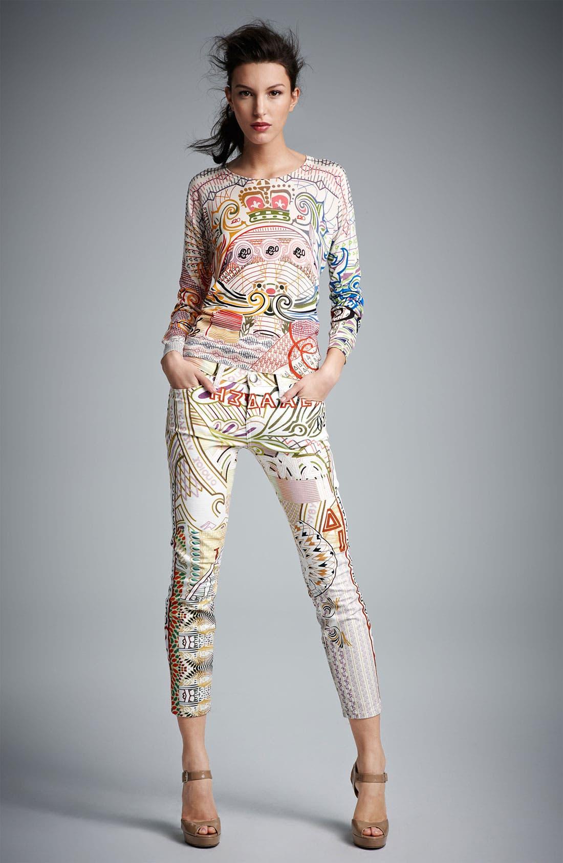 Alternate Image 4  - Mary Katrantzou Print Cigarette Leg Crop Jeans