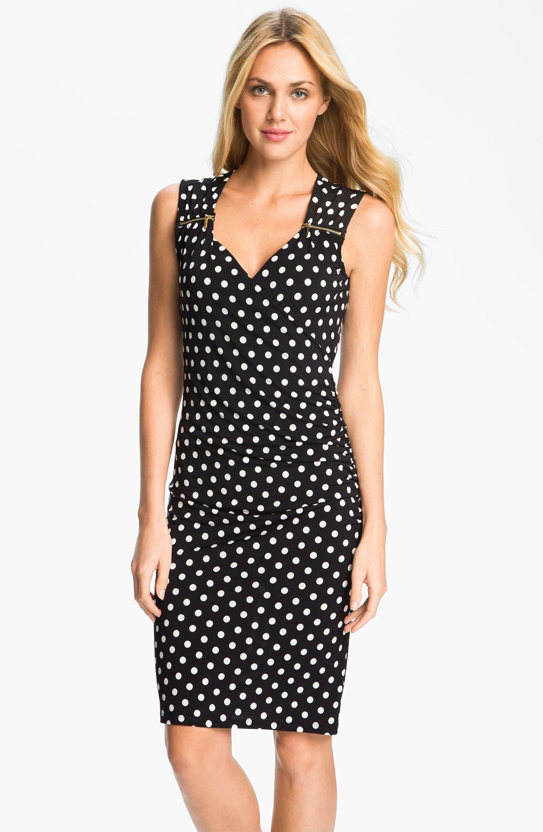 Alternate Image 1 Selected - MICHAEL Michael Kors Sweetheart Neck Dot Dress (Petite)