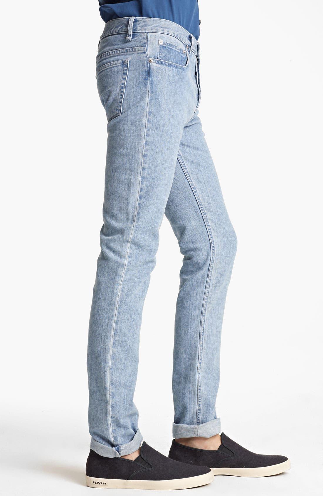 Alternate Image 3  - A.P.C. 'Petit New Standard' Slim Straight Leg Jeans (Light Blue)