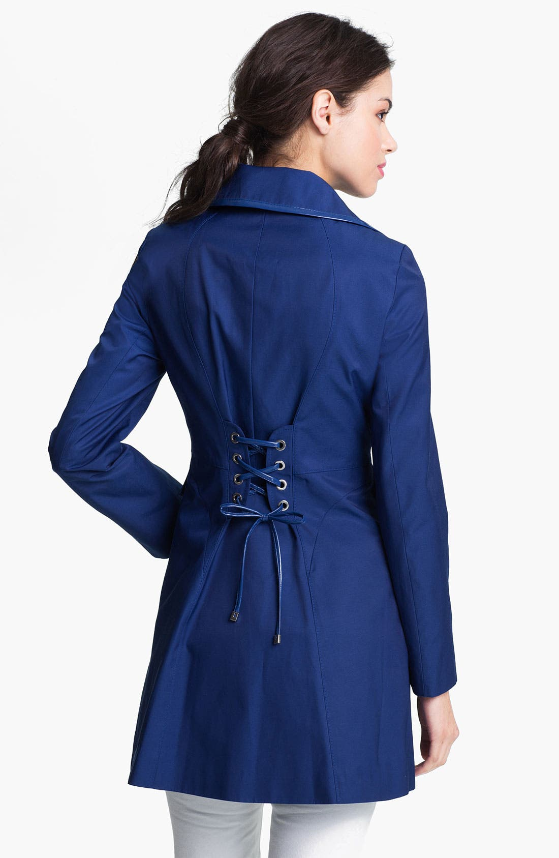 Alternate Image 2  - Via Spiga Patent Trim Trench Coat (Regular & Petite) (Online Only)