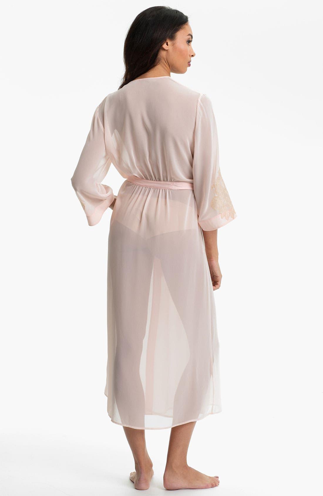 Alternate Image 2  - Oscar de la Renta Sleepwear 'Lace Trellis' Chiffon Robe