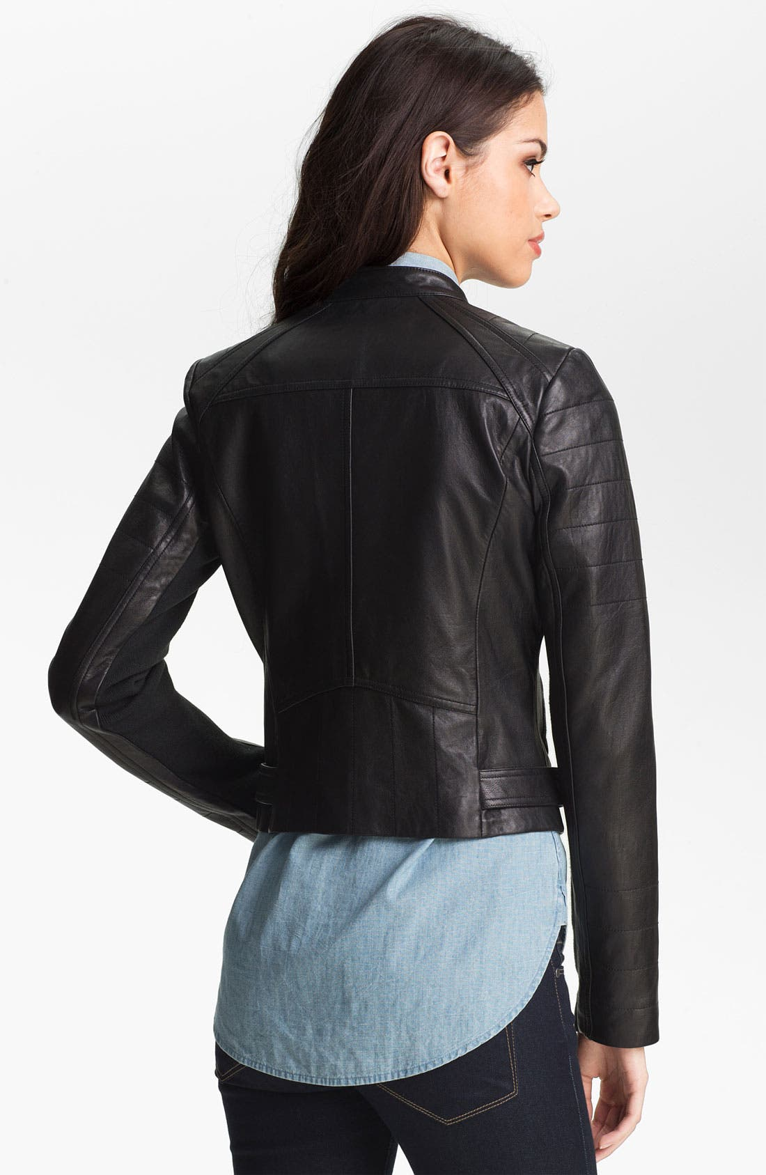 Alternate Image 2  - Sam Edelman Double Zip Leather Moto Jacket (Online Only)