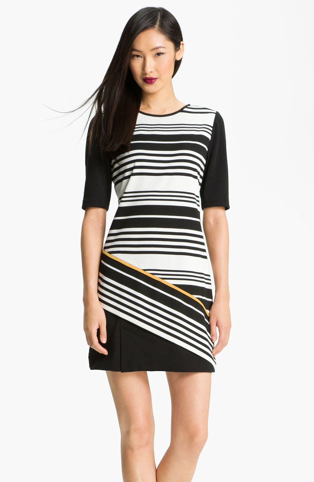 Alternate Image 1 Selected - Donna Ricco Colorblock Stripe Ponte Shift Dress (Petite)
