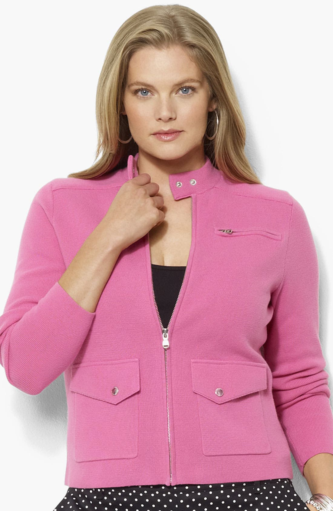 Alternate Image 1 Selected - Lauren Ralph Lauren Mock Neck Jacket (Plus)