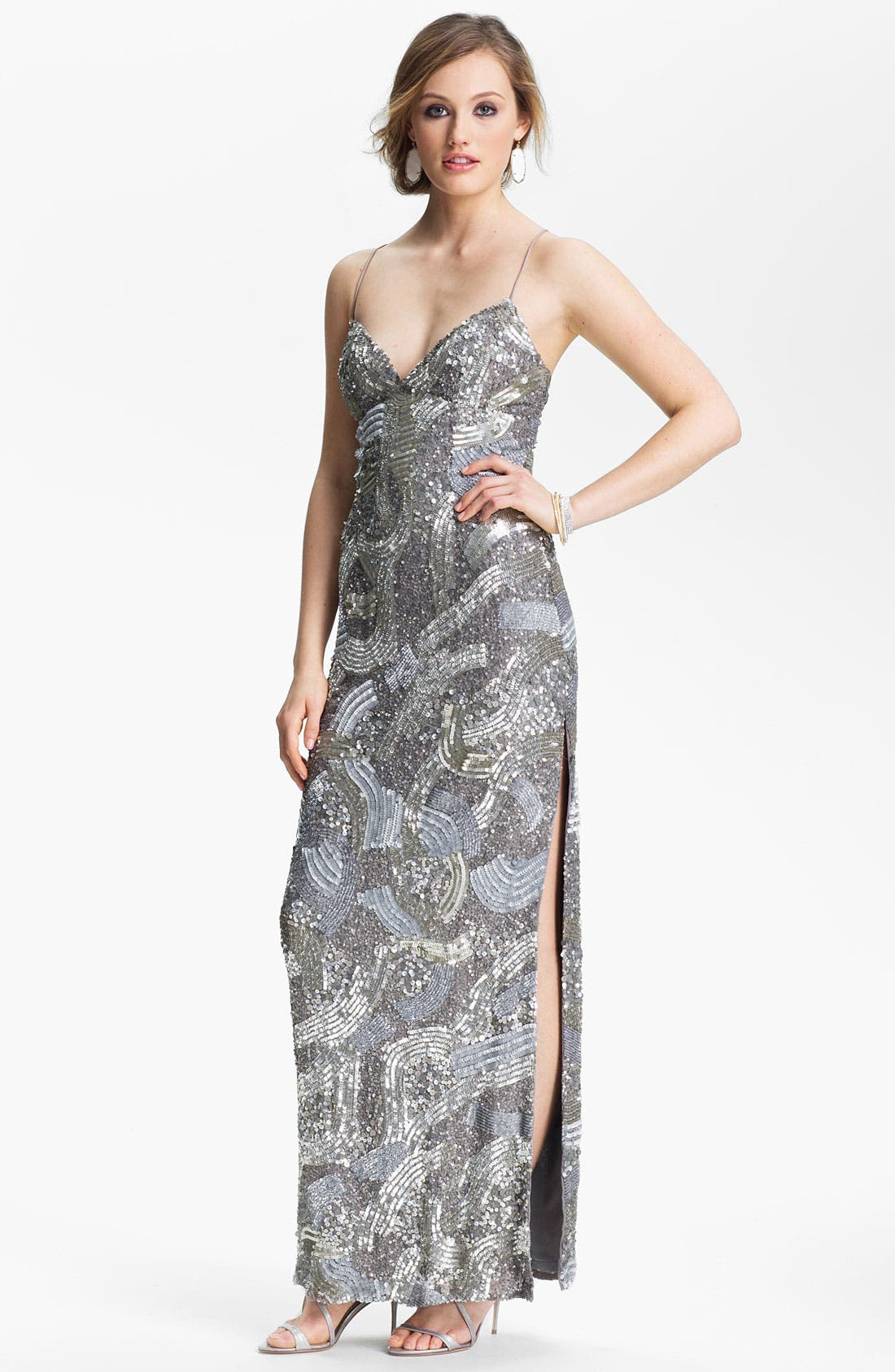 Alternate Image 1 Selected - Sean Collection Sequin Silk Gown (Online Exclusive)