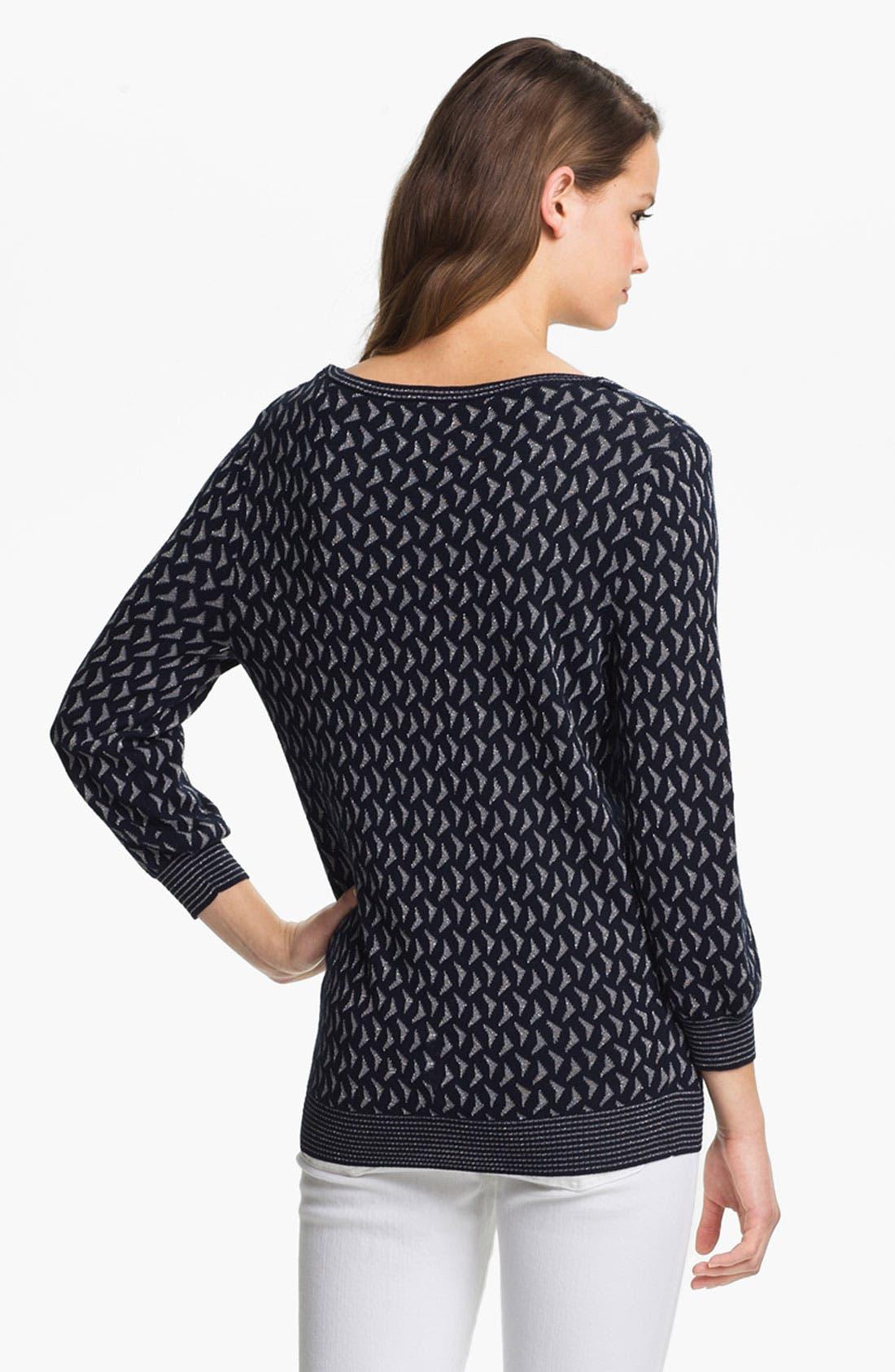 Alternate Image 2  - Anne Klein Scoop Neck Metallic Pattern Sweater (Petite)