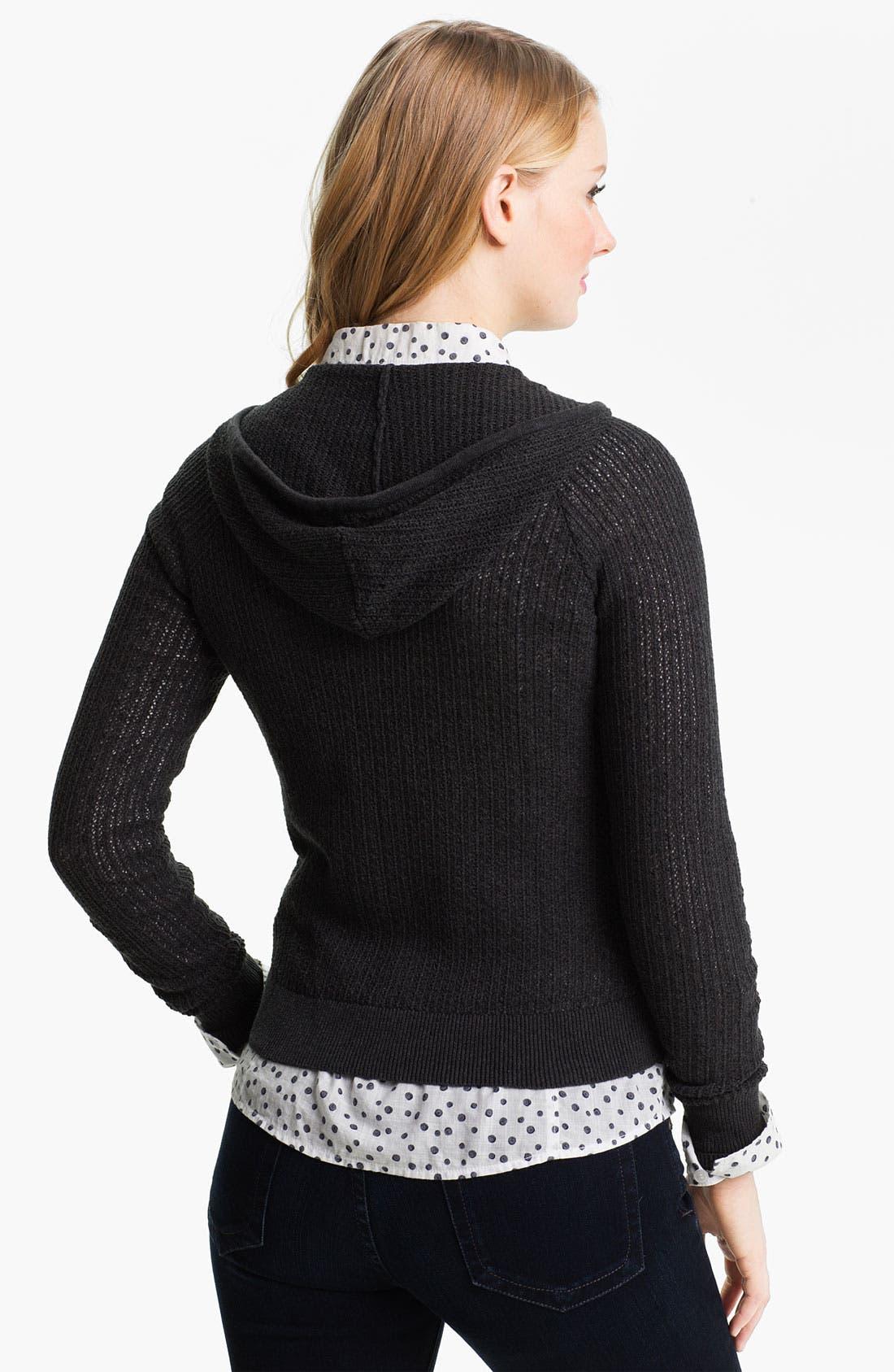 Alternate Image 2  - Caslon® Textured Knit Hoodie (Petite)