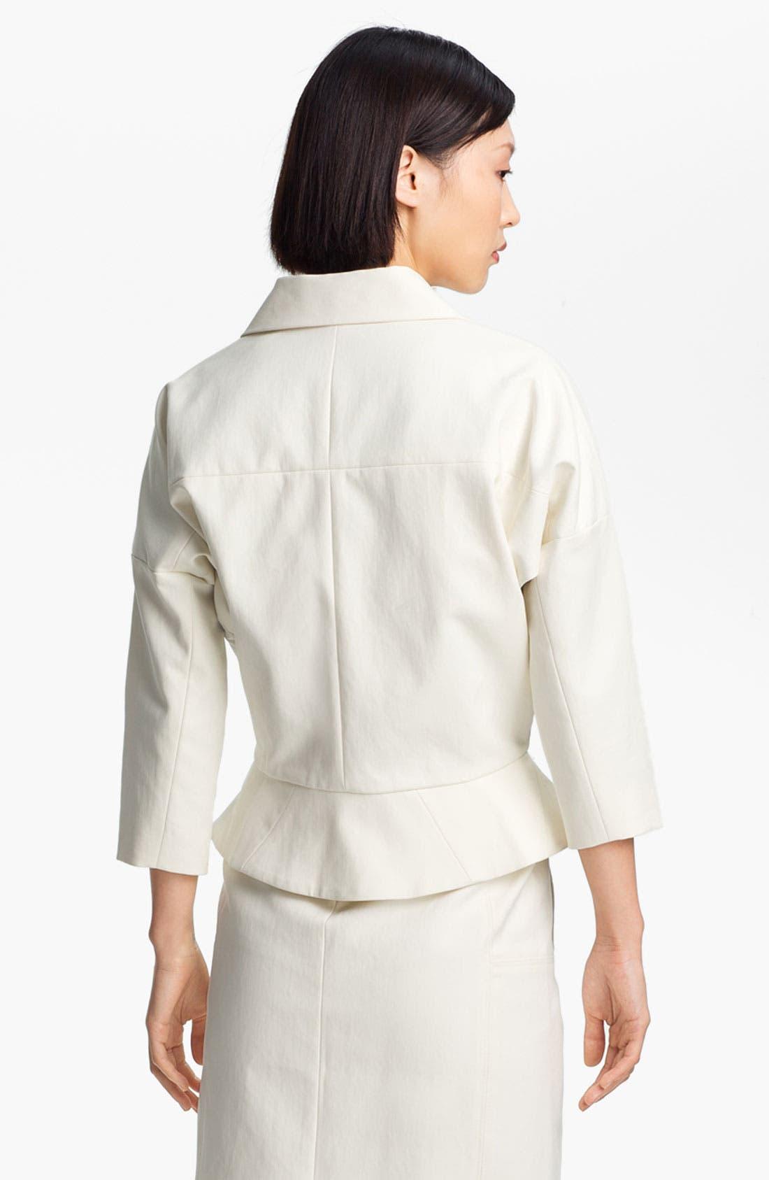 Alternate Image 3  - Halston Heritage Leather Detail Cotton Jacket