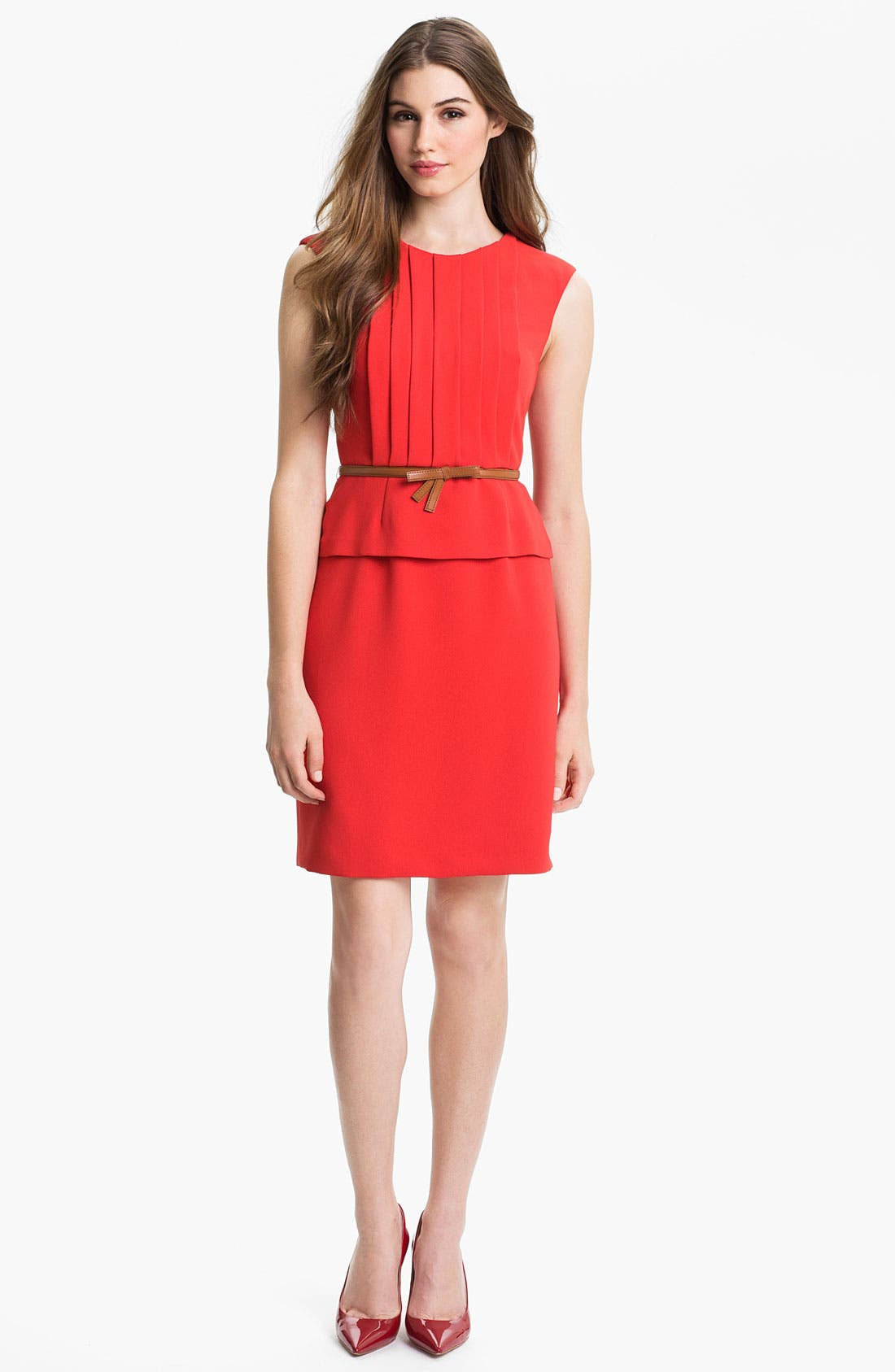 Alternate Image 1 Selected - Tahari Belted Peplum Sheath Dress