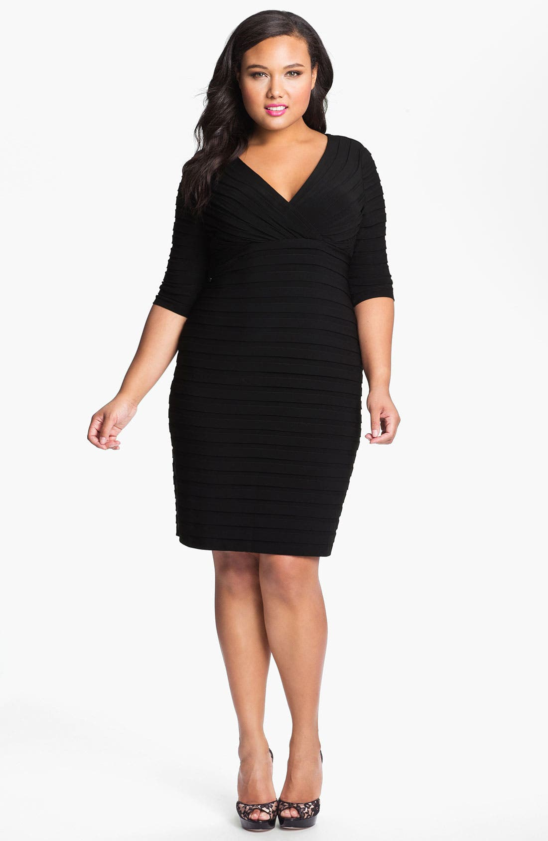 Alternate Image 1 Selected - Adrianna Papell Pleated Jersey Sheath Dress (Plus)