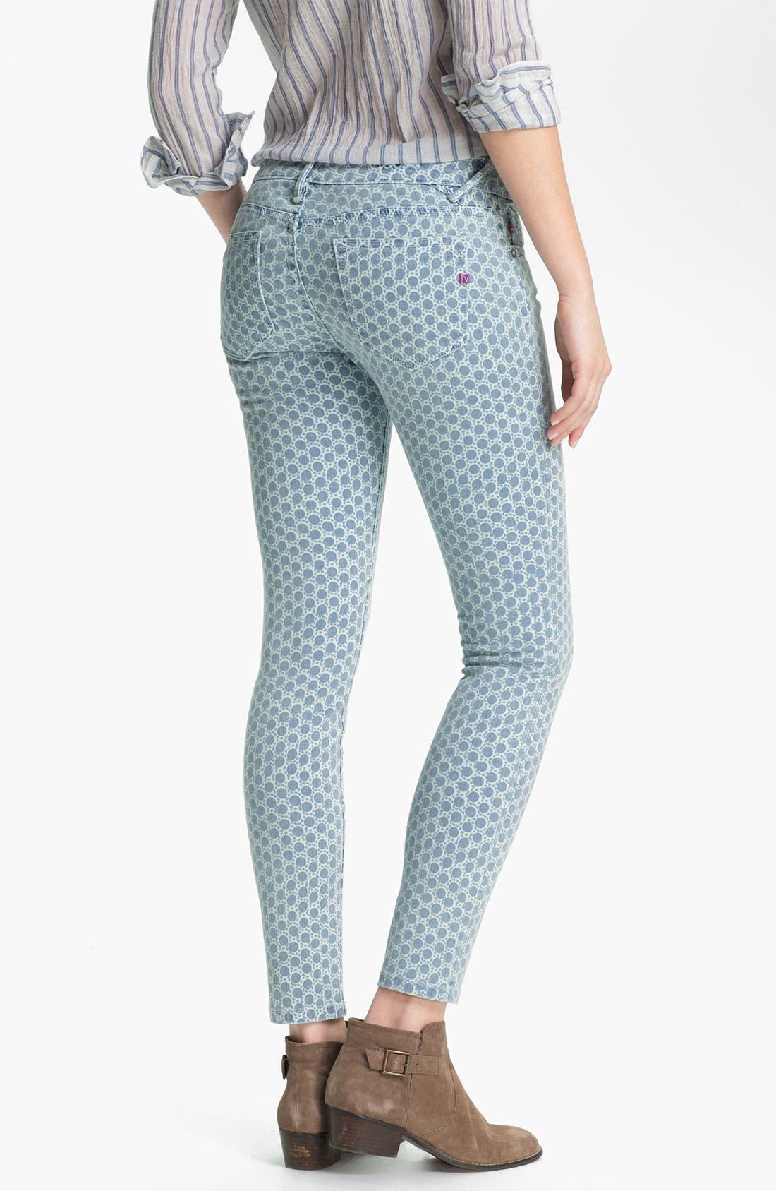 Alternate Image 1 Selected - Vigoss Print Skinny Jeans (Blue Dot) (Juniors)