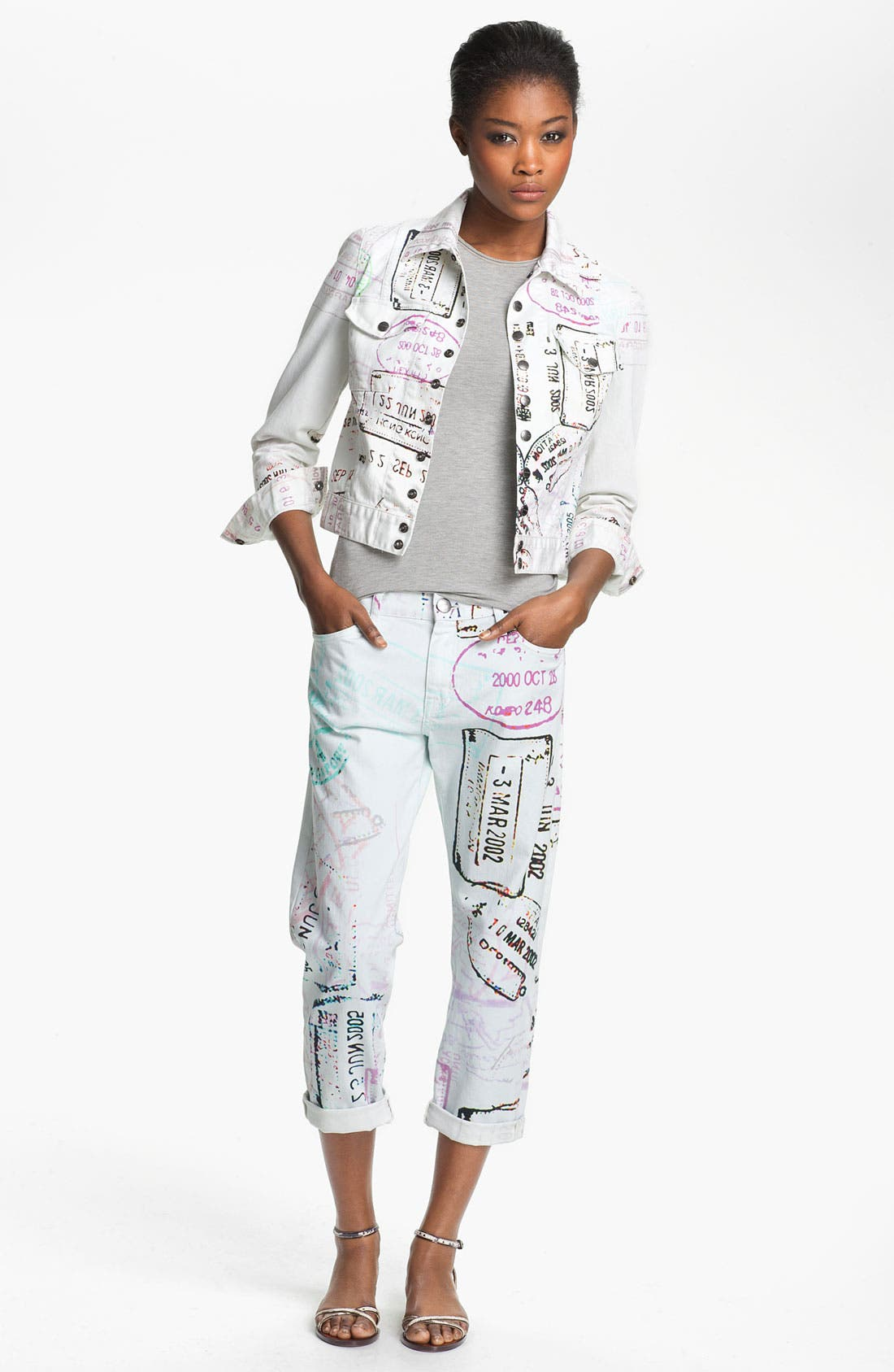 Alternate Image 2  - Mary Katrantzou Current/Elliott Print Denim Jacket