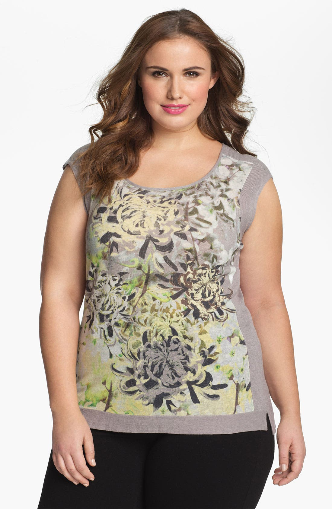 Alternate Image 1 Selected - Nic + Zoe 'Spring Garden' Print Cap Sleeve Top (Plus Size)