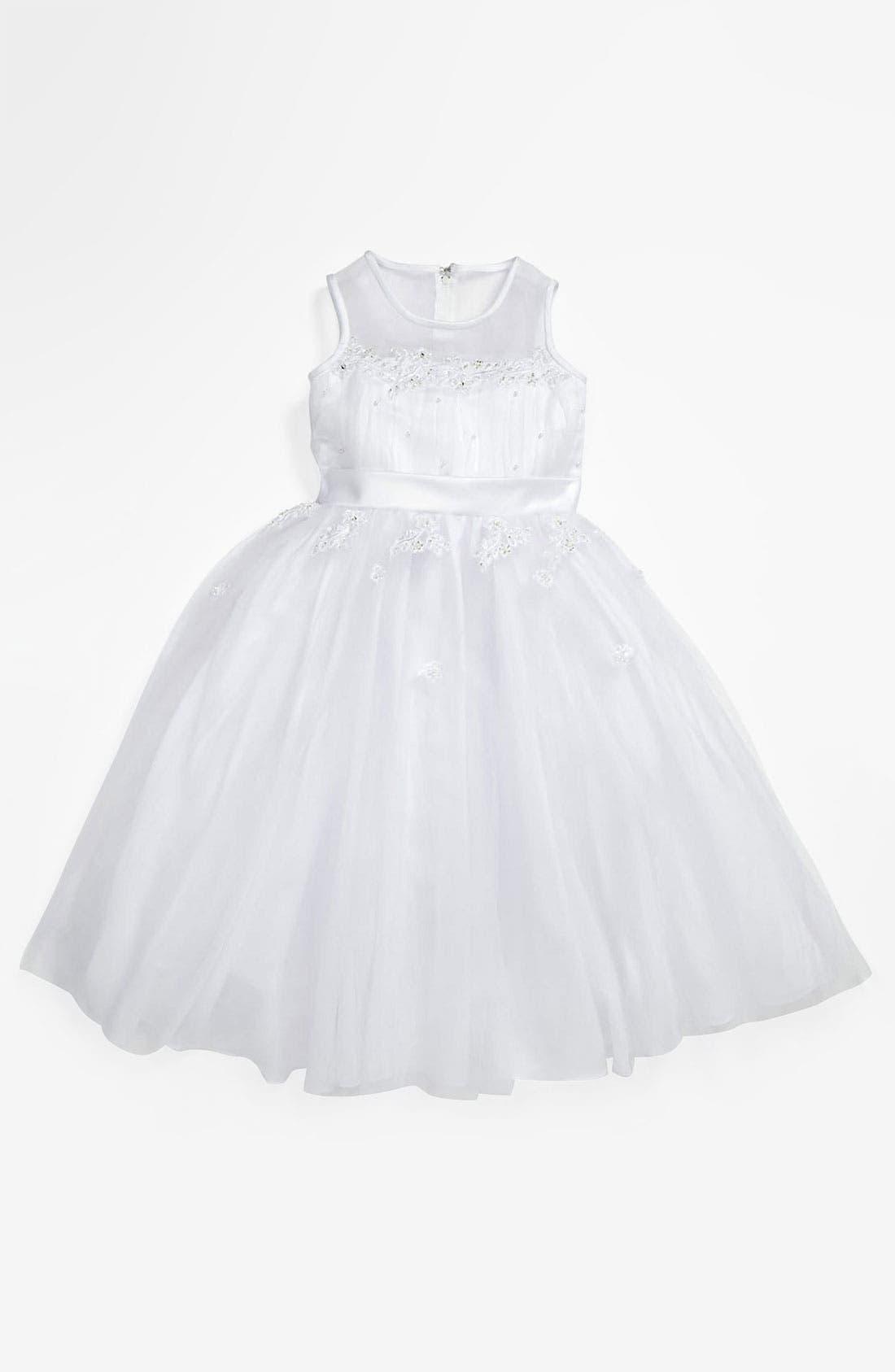 Alternate Image 1 Selected - Lauren Marie Illusion Top Gown (Little Girls & Big Girls)